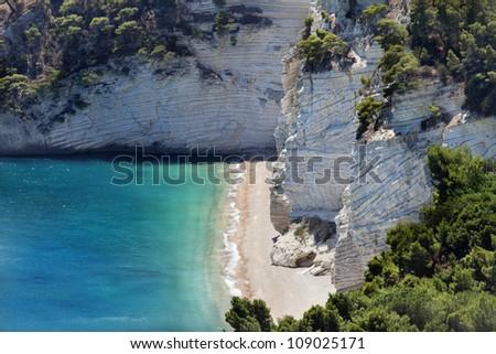 Wild beach in the Gargano (Baia delle Zagare beach) Italy - stock photo