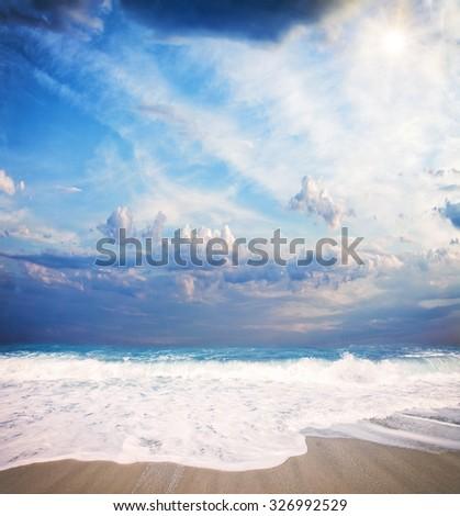 wild beach of the island of Lefkada in Greece  - stock photo