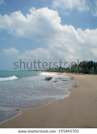 wild beach on Sri lanka coast  - stock photo