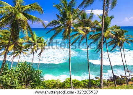 wild beautiful beaches of Sri Lanka - stock photo