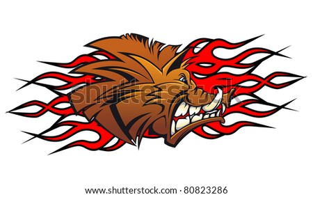 Wild boar head in cartoon as a tattoo or mascot. Vector version also available in gallery