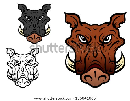 Wild boar or hog in cartoon style for sports team mascot. Vector version also available in gallery - stock photo