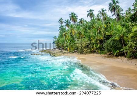 Wild caribbean beach of Costa Rica - Manzanillo - stock photo