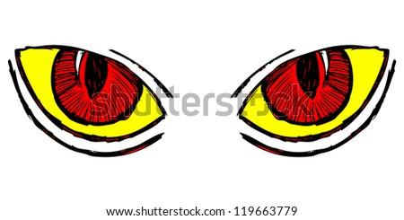 Wild cat eyes. Doodle style. Raster version - stock photo