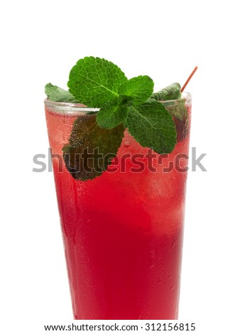 Wild Cherry cocktail isolated on white background. Made from 1/2 cherry brandy, 1/4 creme de cacao, 1 1/2 bourbon, 4 chilled cherryade, cherry and mint to garnish - stock photo