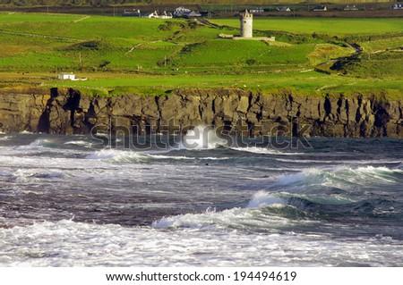 Wild coast in Doolin - stock photo