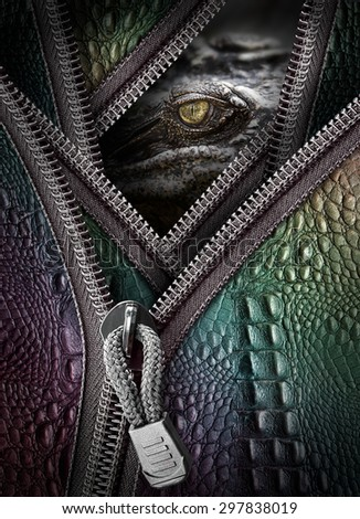 Wild crocodile eye and leather with zipper in concept of killer for business