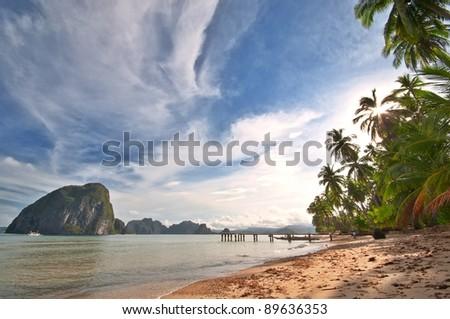 Wild Exotic Beach Scenery Panorama - stock photo