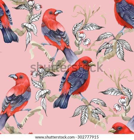 Wild exotic birds on twig and wildflowers watercolor seamless pattern on pink background - stock photo