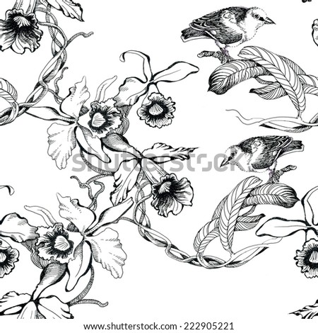 Wild exotic birds on twig seamless pattern on white background