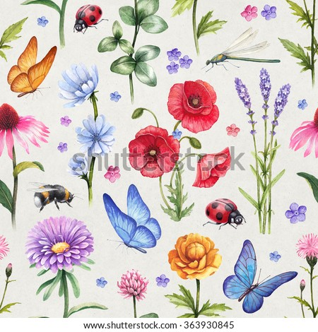 Wild flowers and insect illustrations. Watercolor summer pattern