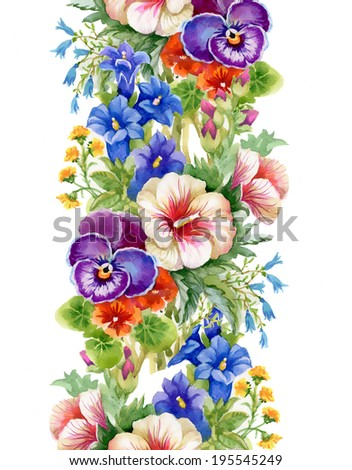 Wild flowers seamless pattern on white background - stock photo