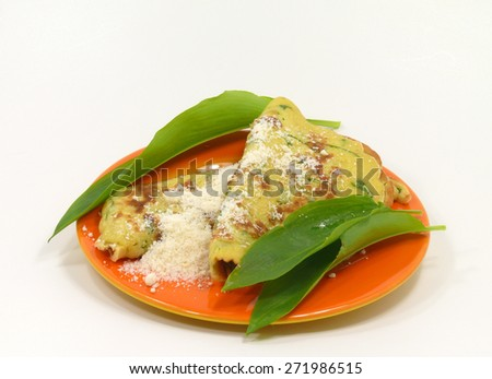 wild garlic pancakes on the plate