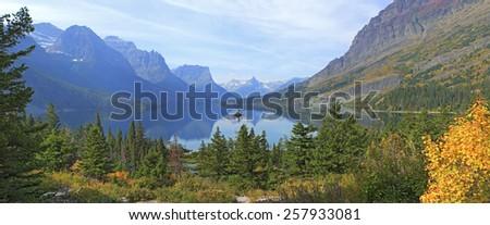 Wild Goose Island and St. Mary Lake, Glacier National Park, Montana. - stock photo
