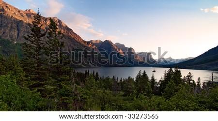 Wild Goose island. Glacier National Park. Montana - stock photo