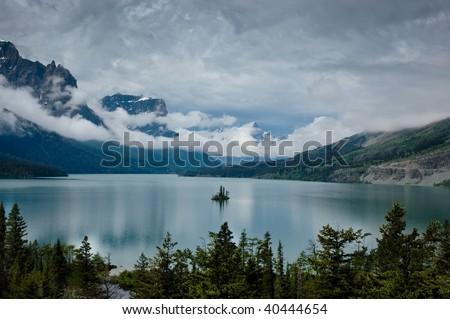 Wild Goose Island in Saint Marys Lake, Glacier National Park, Montana - stock photo