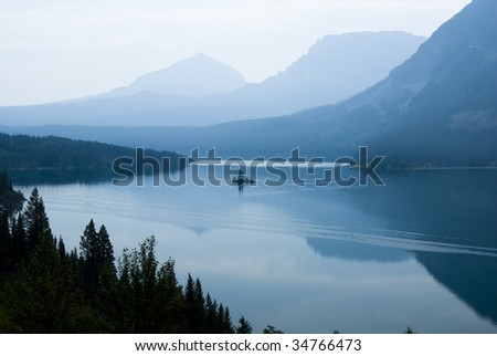 Wild Goose Island on Saint Mary Lake in Glacier National Park - stock photo