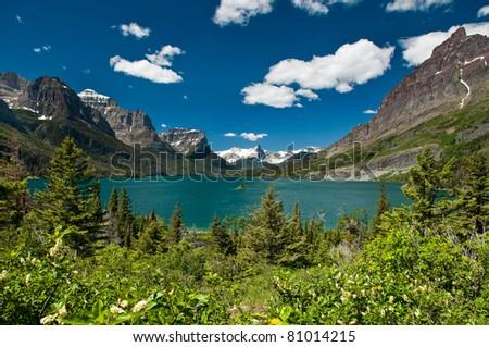 Wild Goose Island, Saint Mary Lake - stock photo