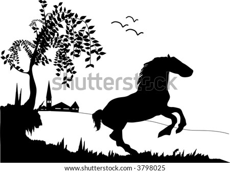 unicorn silhouette on background nature stock vector