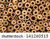 Wild insect hotel in wood - stock photo