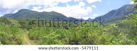 Wild jungle with mountains on the Madagascar east coast. - stock photo