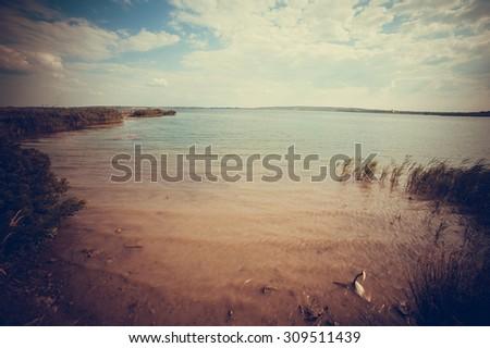 Wild lake in national park - stock photo