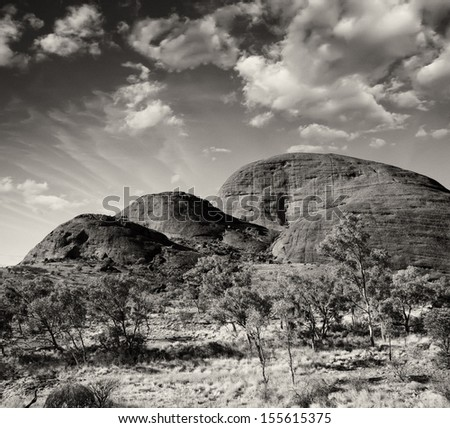 Wild landscape in the australian outback, Northern Territory. - stock photo