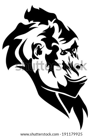 wild mountain gorilla head black and white outline