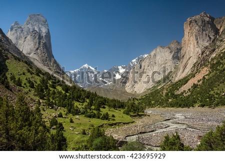 Wild mountain valley in south Kyrgyzstan, Central Asia - stock photo