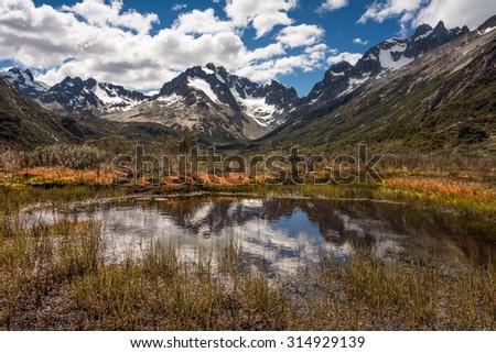 Wild mountains around Ushuaia, Patagonian Andes, Argentina - stock photo