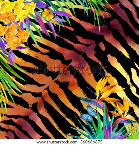 Wild nature watercolor tropical background design with palm leaves, unusual flowers and butterfly on tiger print.