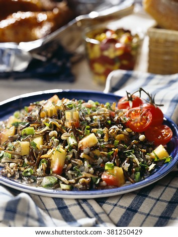 Wild rice and peach dinner