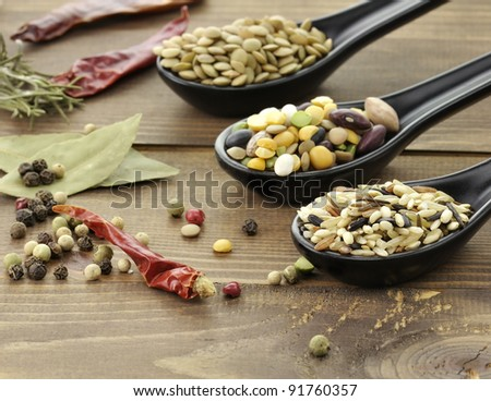 Wild Rice Mix ,Beans And Lentils With Spices - stock photo