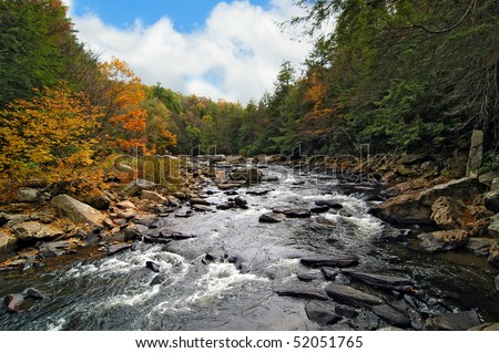 Wild river in Swallow Falls, MD in the Appalachian Mountains in Autumn - stock photo