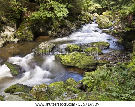 wild river with mossy stones Kamenice river nort Bohemia Czech Republic - stock photo