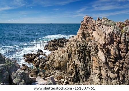 Wild rocky coast on western Sweden - stock photo