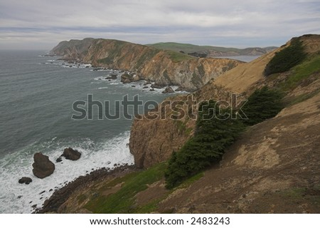 Wild rocky shoreline of Point Reyes National Seashore - stock photo