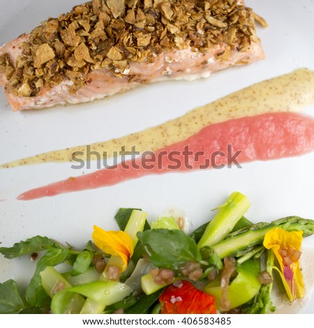 Wild Salmon Baked in Cedar - white asparagus - rhubarb - wild watercress & grain mustard  - stock photo