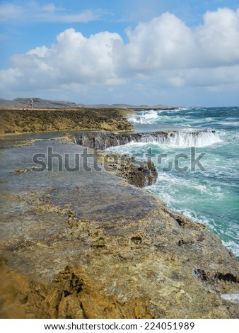 Wild seas around  Natural Jacuzzi Curacao a Caribbean Island in the Caribbean