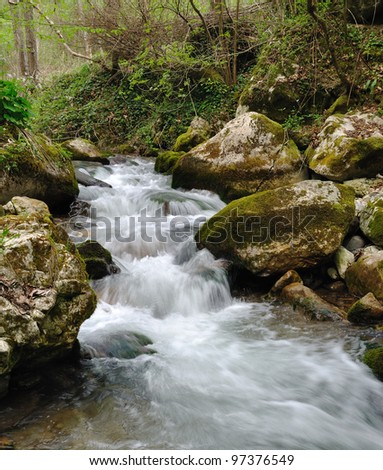 Wild stream between stones in green forest landscape - stock photo