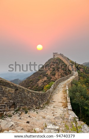 wild the great wall of China at sunrise - stock photo