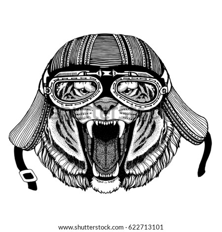 Wild tiger Hand drawn image of animal wearing motorcycle helmet for t-shirt, tattoo, emblem, badge, logo, patch