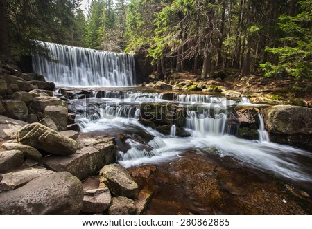 Wild Waterfall in Sudety in Poland - stock photo