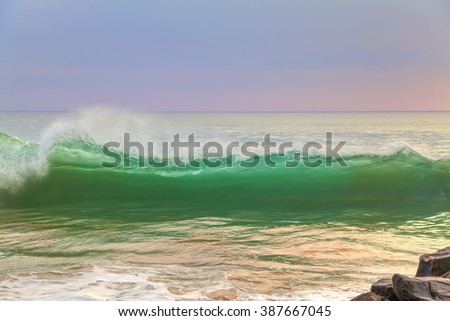 wild waves on the tropical island Sri Lanka in the Indian Ocean - stock photo