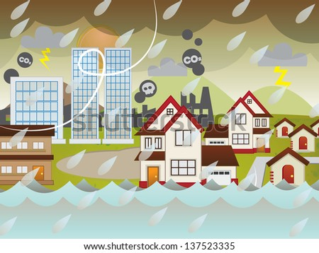 Wild weather, dried lake and rising sea level global warming effect on a city and housing area - stock photo
