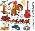 Wild West Clipart icons and elements isolated on white - stock vector