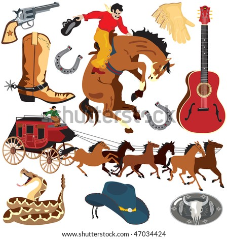 Wild West Clipart icons and elements isolated on white - stock photo