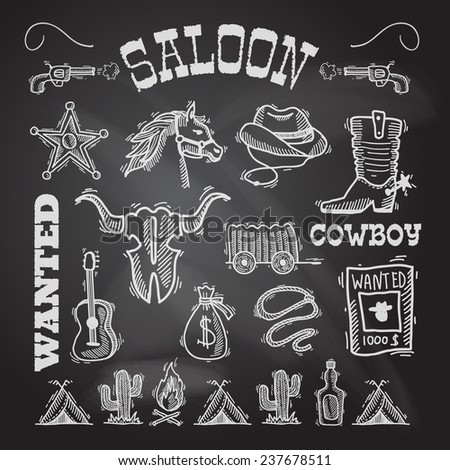 Wild west cowboy chalkboard set with gun money bag horse isolated  illustration