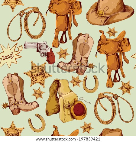 Wild west cowboy colored hand drawn seamless pattern with lasso horse saddle  illustration - stock photo
