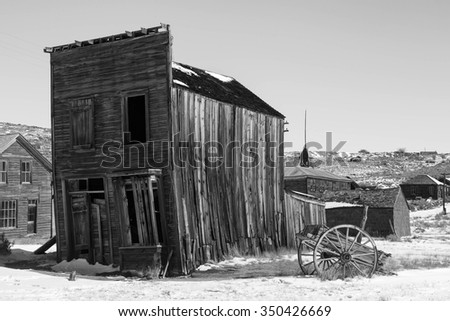 Wild west ghost town in black and white, Bodie, California, USA. - stock photo